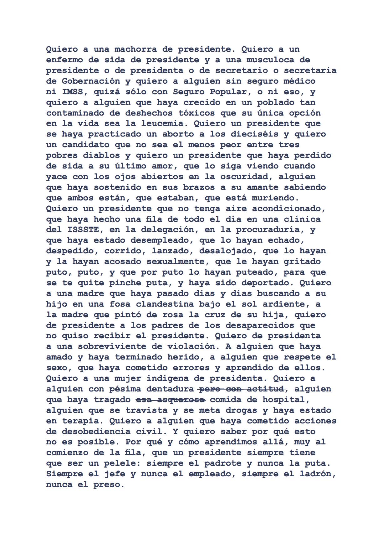 Versión libre adaptada por Luis Felipe Fabre de la obra original  I Want a President  de Zoe Leonard, 2018  Edición por Alias Editorial