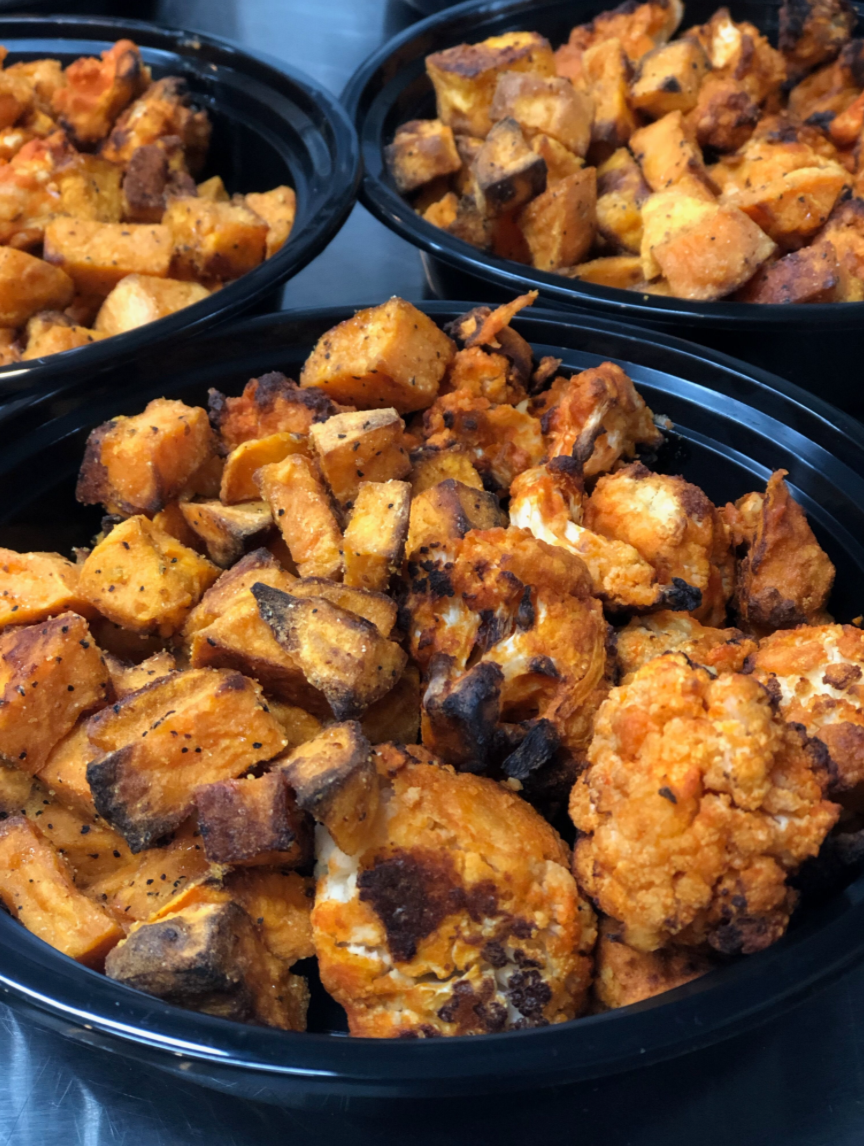 Buffalo Cauliflower with Roasted Sweet Potatoes