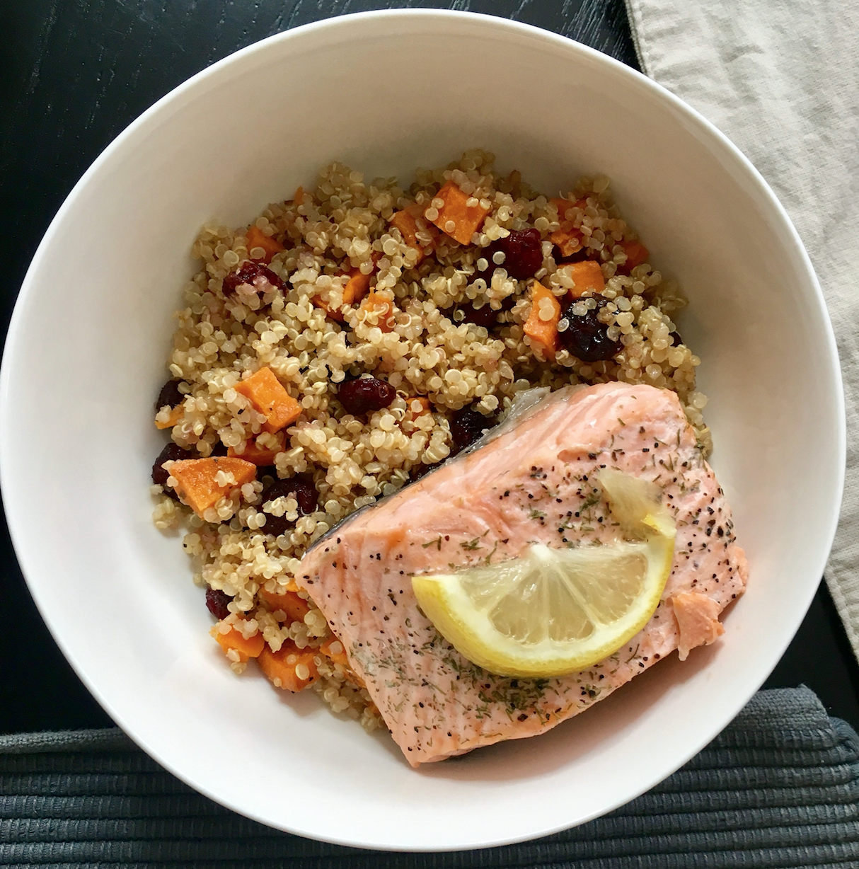 Poached Salmon with Sweet Potatoes and Cranberry Quinoa