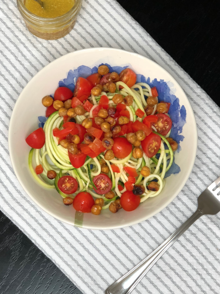 Zucchini Salad with Chickpea Croutons and Lemon Vinaigrette