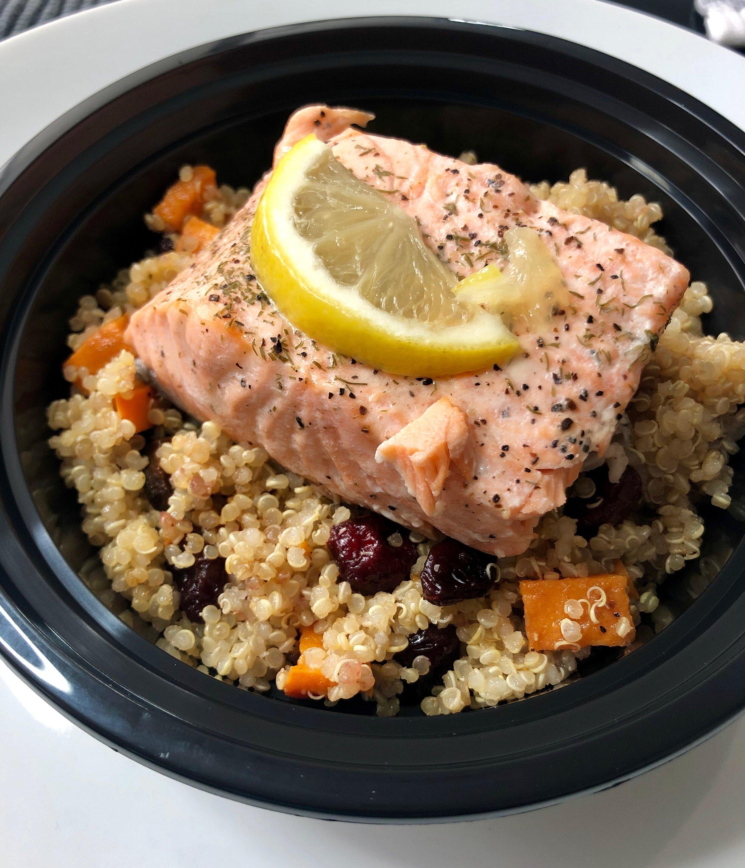 Poached Salmon with Sweet Potato Cranberry Quinoa