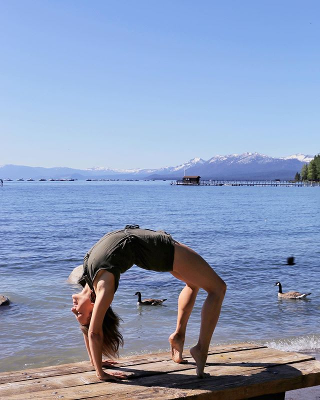 Happy belated international yoga day from the shores of Lake Tahoe!  Yoga has transformed my life in the best of ways.  The practice found me during a time in my life when I was searching for a shift.  I thought that shift was a change in location or job aspiration, but it was an internal shift towards love, presence and gratitude.  Now my every day feel extraordinary and I am so grateful to share this practice with our community.  This is my first visit to Lake Tahoe during the summer.  I love lake culture.  I remember growing up in Arizona spending our days wakeboarding and sunbathing on the lakes just outside Phoenix.  I am so thrilled to be here as the snow caps begin to melt and we enjoy the fresh air during daytime hikes.  Have you been to Lake Tahoe during the summer?  What were some of your highlights?