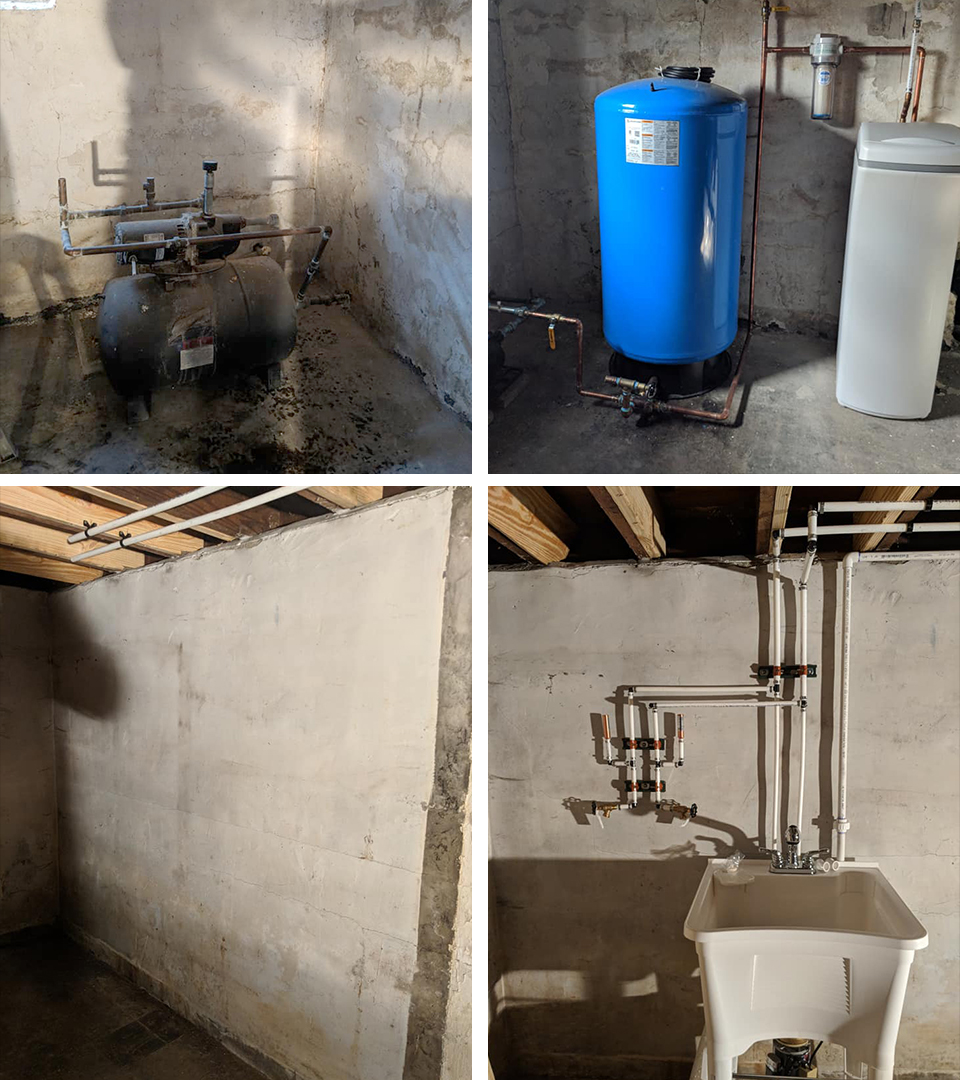 Updating an early 1900's farm house can be challenging, but we're up to the task! Out with the old busted well pump and in with the new pump, pressure tank & water softener. Bare basement wall turned into a new laundry area equipped with a laundry tub pump.