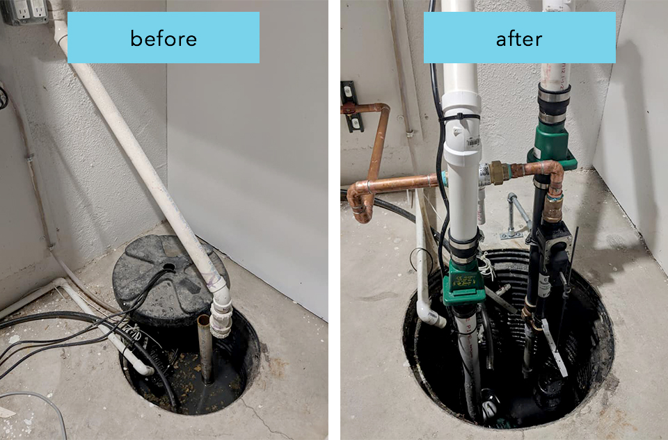 we replaced an old broken sump pump and installed a whole new sump system that will run with AND without power.