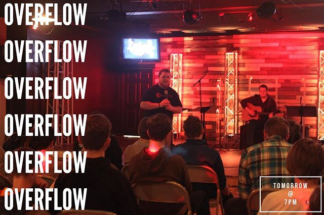 "Invite a friend, and come join us tomorrow night at Overflow as we continue our series on, ""No Regrets."" See you there! #noregrets #thisisoverflow #overflowsm"