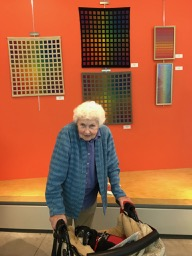 Tony Kormos with her work at the NEWS Special Exhibit: Passion for Weaving Three Master Weavers of Rhode Island