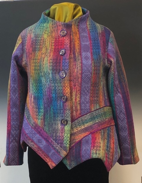 WGRI member Manon Pelletier and Canadian master weaver and textile designer Inge Dam collaborated long distance to create this jacket.