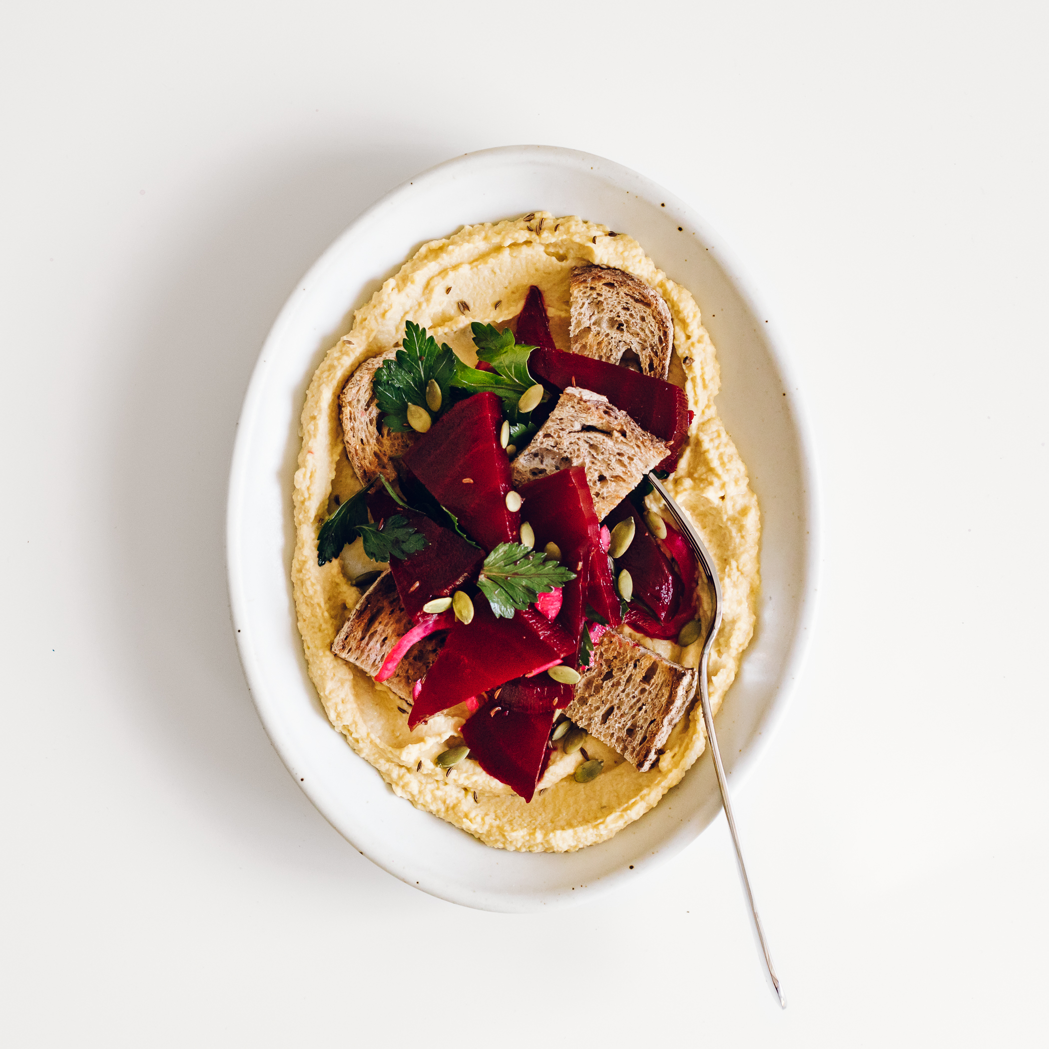 Beet-Centric Hummus Plate by Jessie May