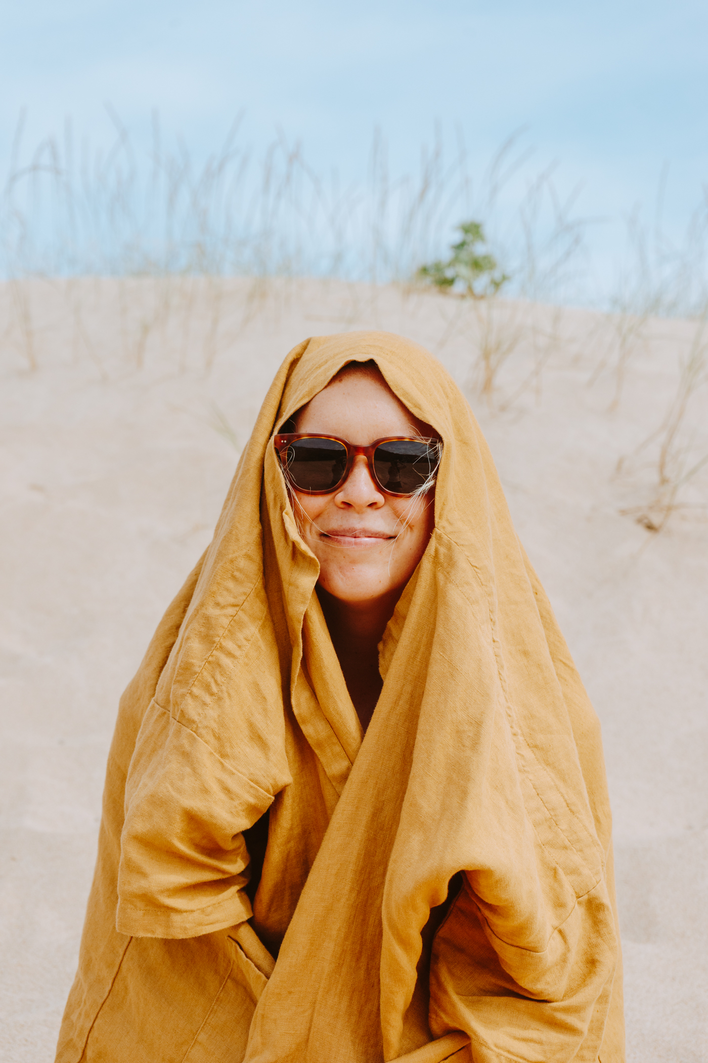 Hiding from the cold wind, haha.