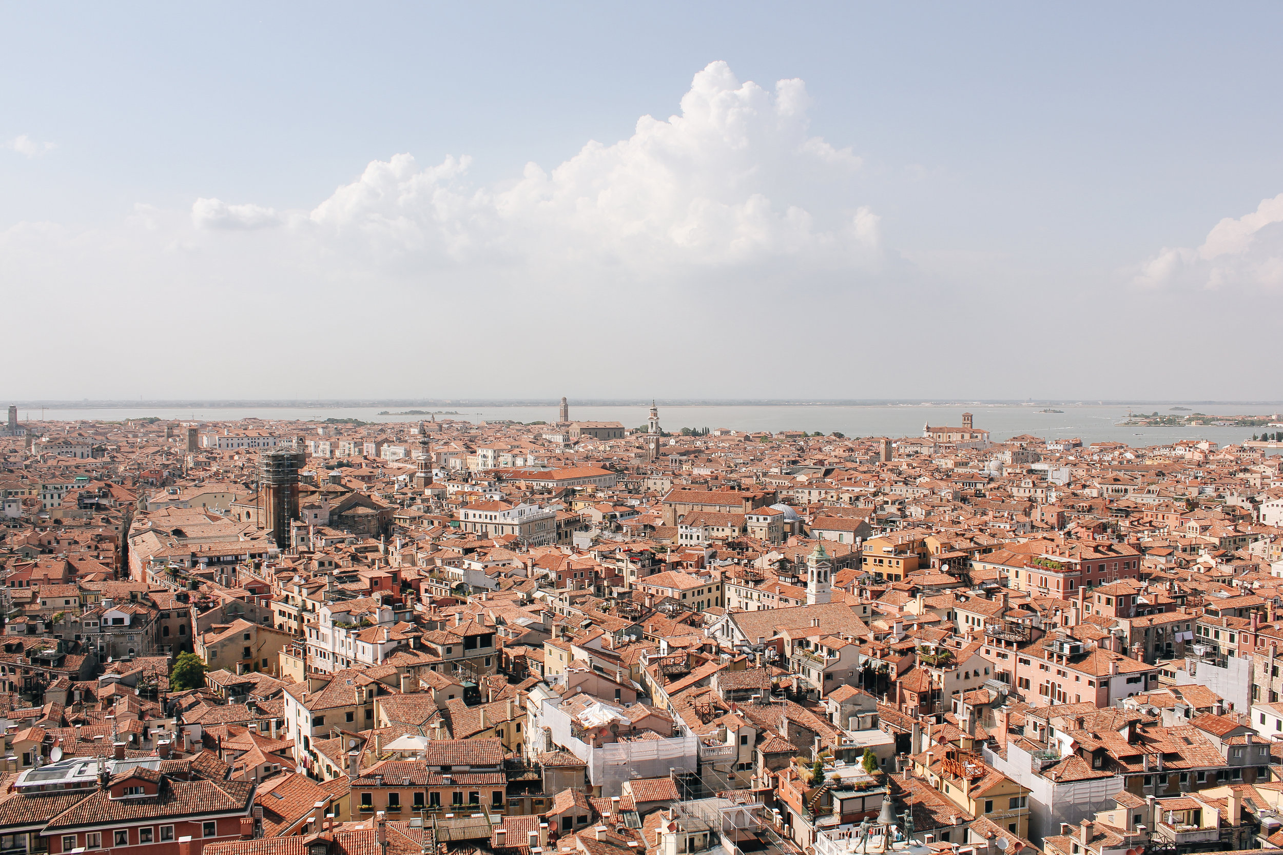 Panoramic views of Venice as seen from Campanile di San Marco