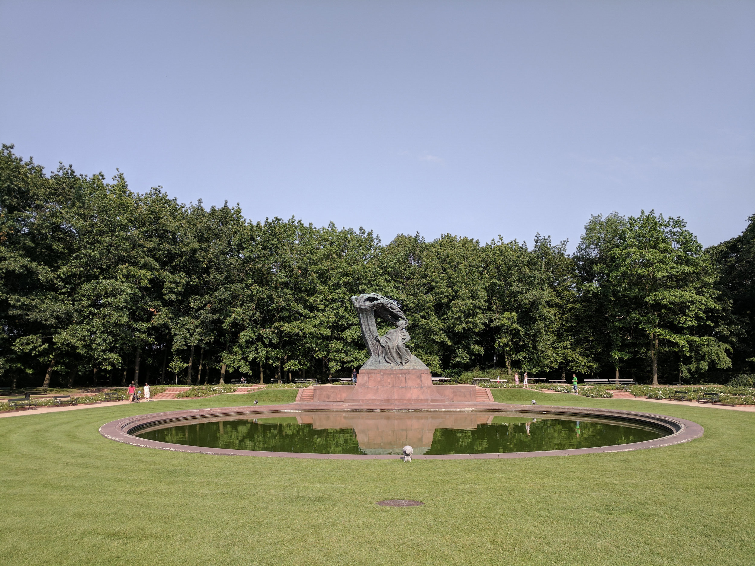 Frédéric Chopin Monument in Łazienki Park. The original statue was destroyed by the Germans during WWII in 1940. Luckily the mould for the bronze statue survived and a replica was erected in 1958.