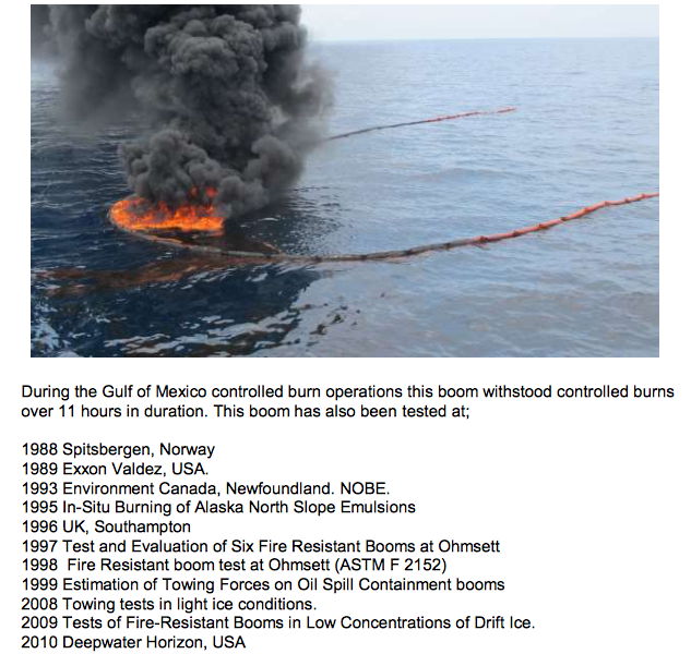 Fire Boom under test situations & on oil spills.