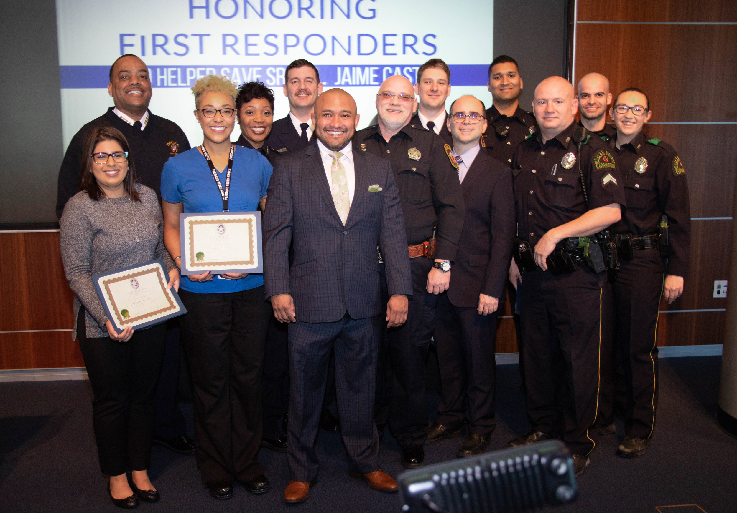 Dallas Police Chief Senior Corporal Jaime Castro with the group of healthcare heroes that saved his life.