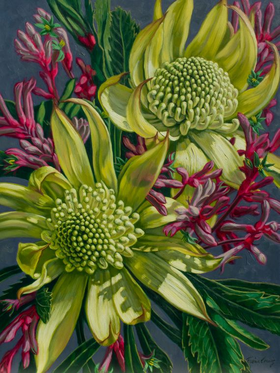Green Waratahs and Pink Flannel Flowers