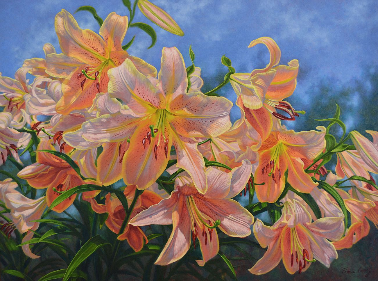"'Oriental Lilies 2: Red Hot', Fiona Craig, oils, 40"" x 54"""