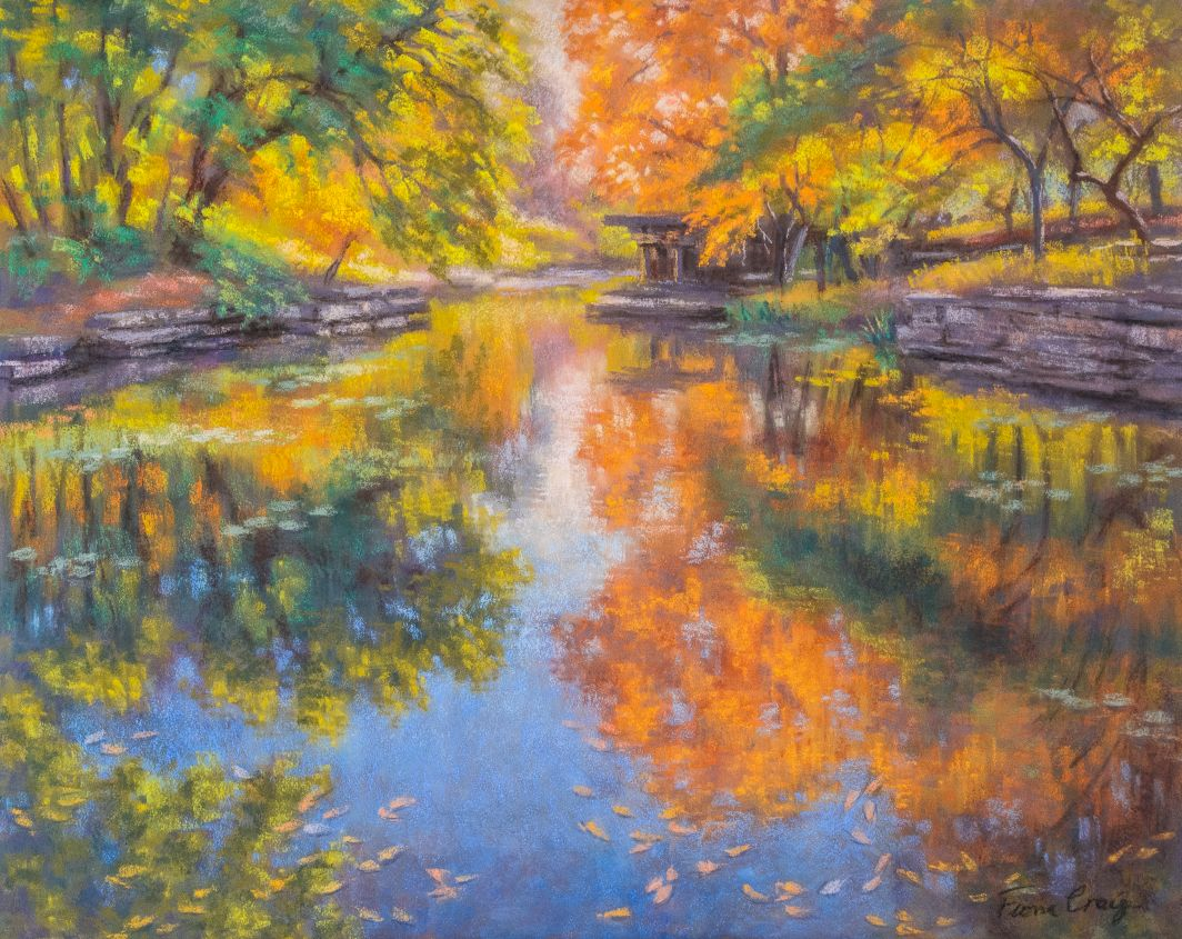 "Alfred Caldwell Lily Pool - Soft pastel on wood panel, 20"" x 16"" x 1/8"". Requires framing under glass. This landscape architecture in Chicago, originally named The Rookery, is possibly at its most beautiful in autumn. I have also painted a large oil of this scene (see following post)."
