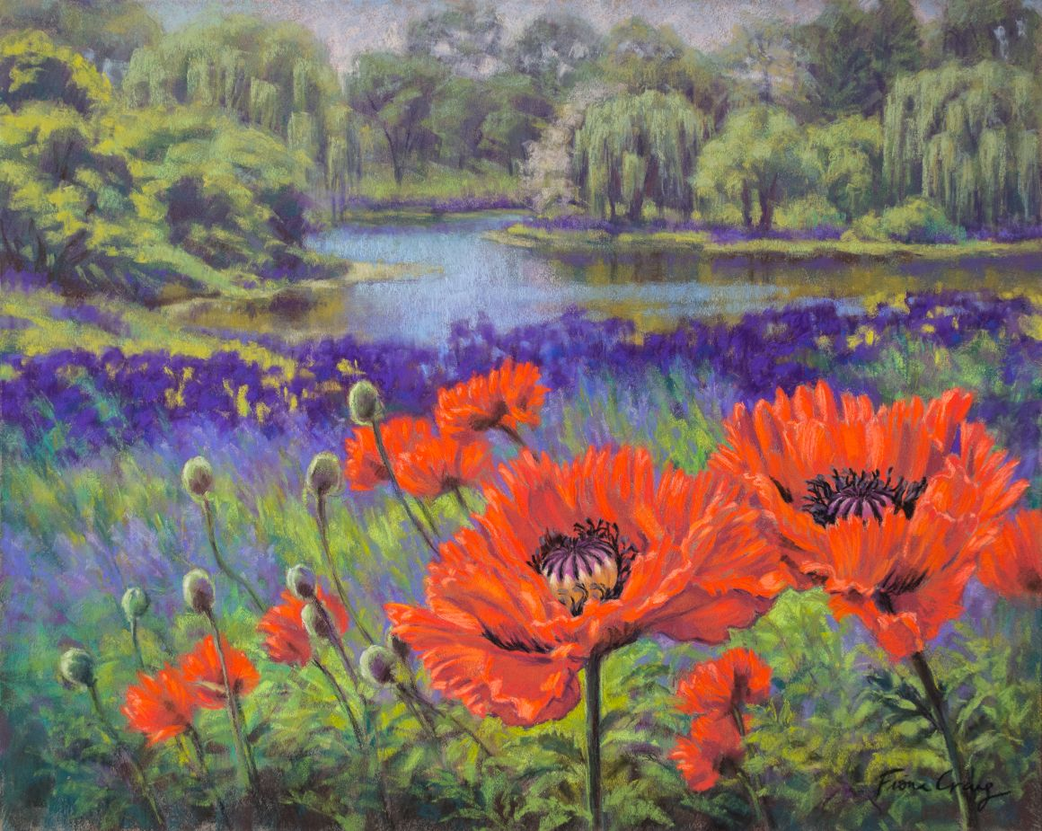 "Red Poppies, 1 - Soft pastels on wood panel, 16"" x 20"" x 1/8"". Requires framing under glass. This artworks was inspired by a field of oriental red poppies, purple irises and mauve wildflowers against the backdrop of a tranquil lake at the Chicago Botanic Garden, Illinois. I followed this artwork with a large painting in oils (see next post)."