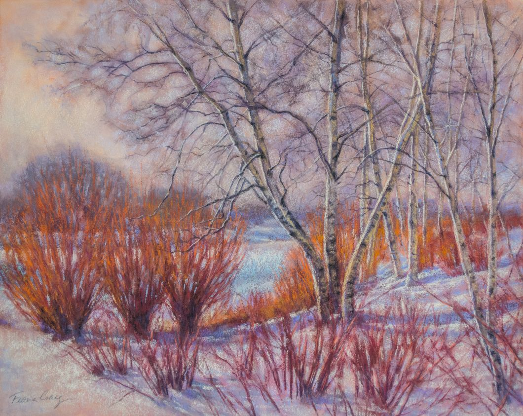 "Winter Birches and Red Willows - Soft pastels on wood panel, 20"" x 16"" x 1/8"". Requires framing under glass. Sunlight sets these bare, red willow branches aglow with fiery colour amid the snowy landscape."
