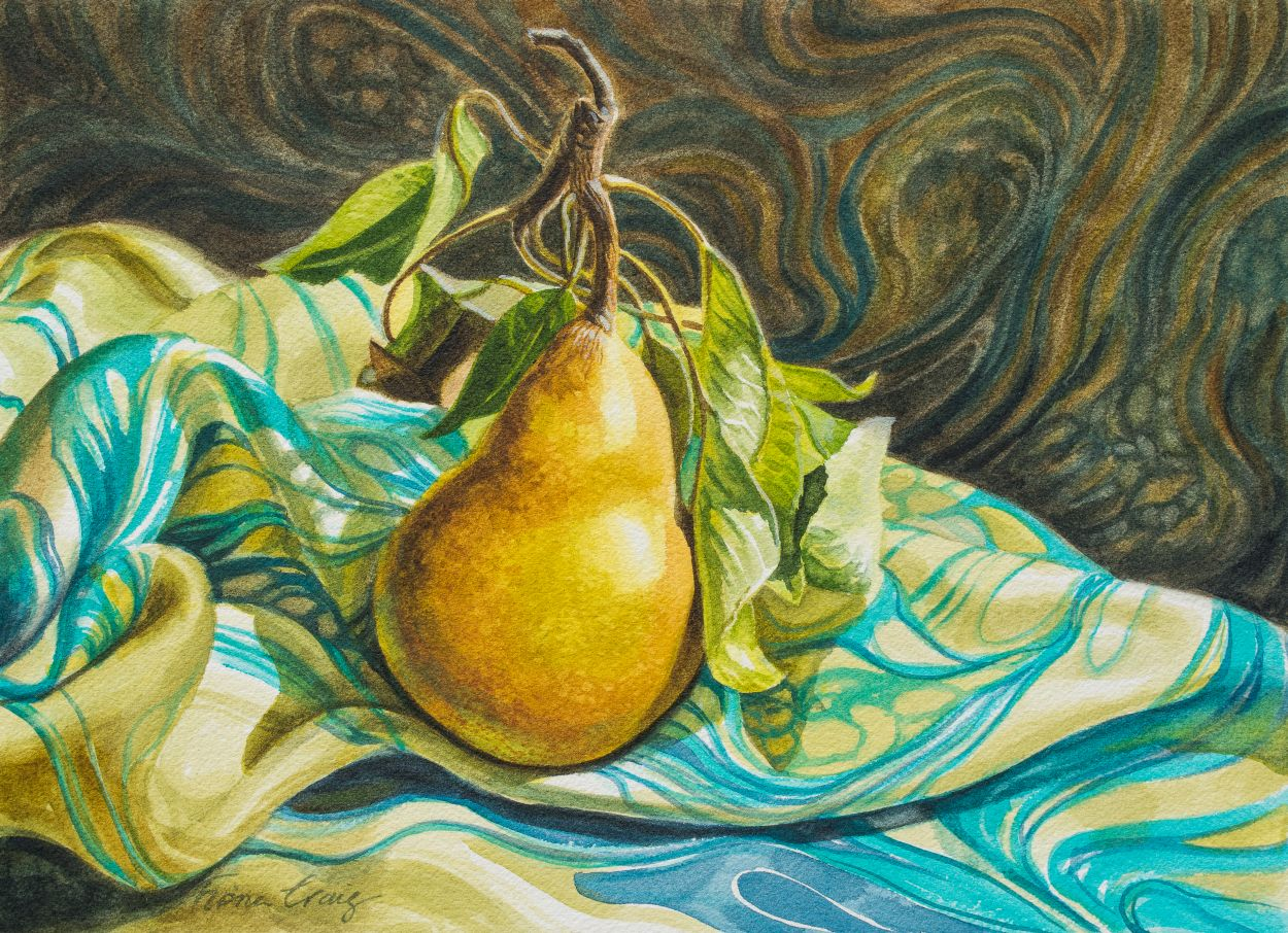 Pear on Marbled Silk