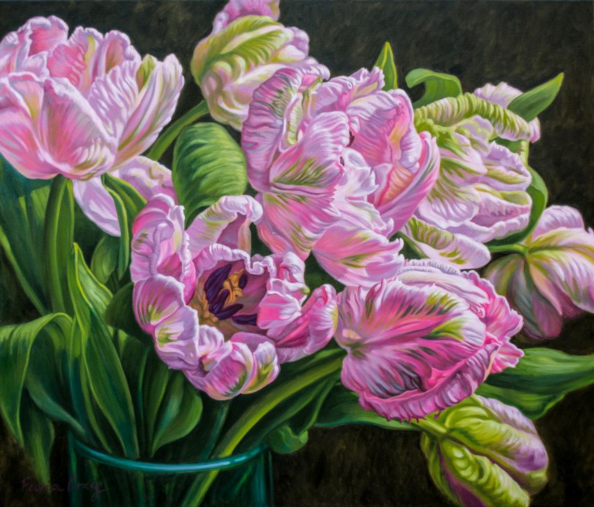 "From my  Tulipomania  series,  Tulipomania 13: Pale Pink Parrots , oil on poly-cotton canvas, 42"" x 36"" x 1.5""."