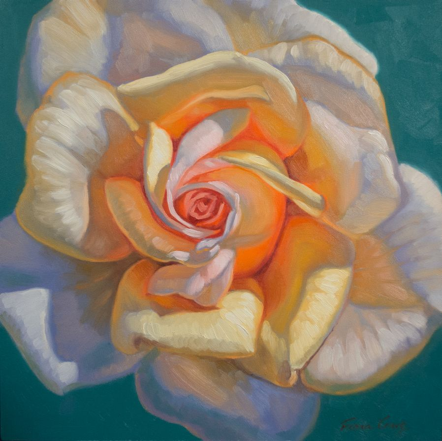 "Sunlit Roses series - Sunlit Rose 2, F. Craig, oils on wood panel, 12"" x 12"" x 7/8""."