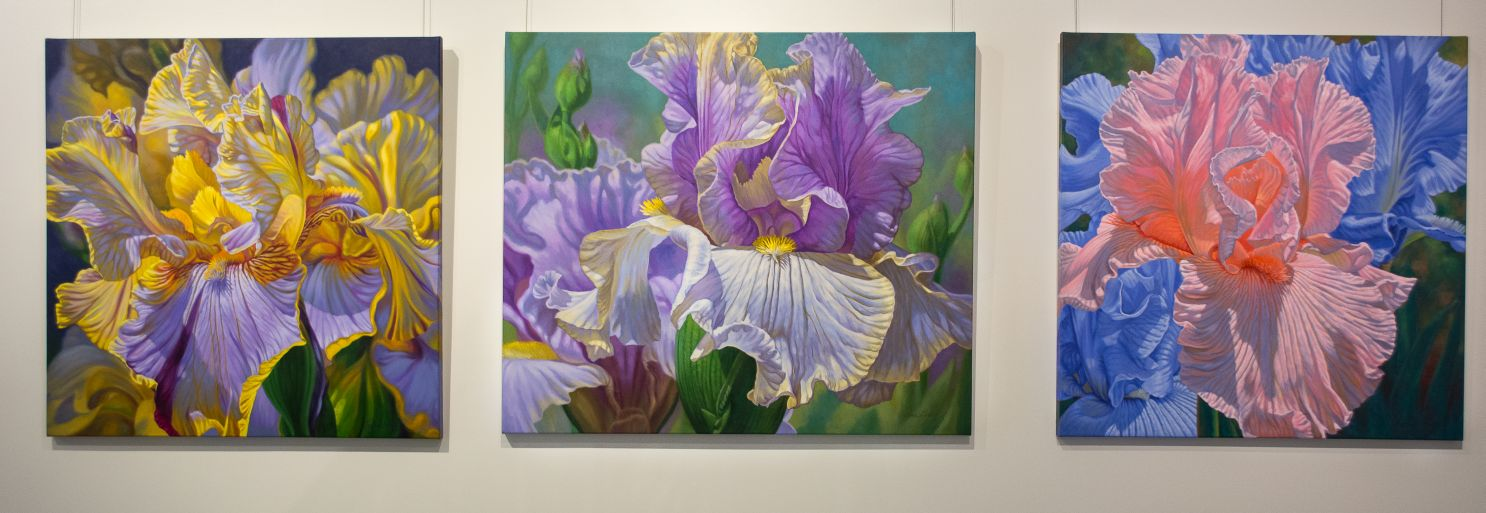 "A gradually growing series of Irises in from my  Floralscapes  theme. Oils, 36"" square and 42"" x 36""."