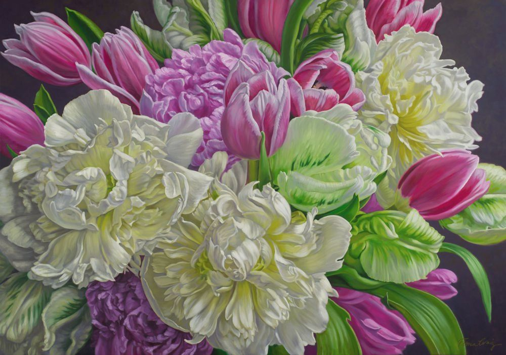 White Peonies and Pink Tulips