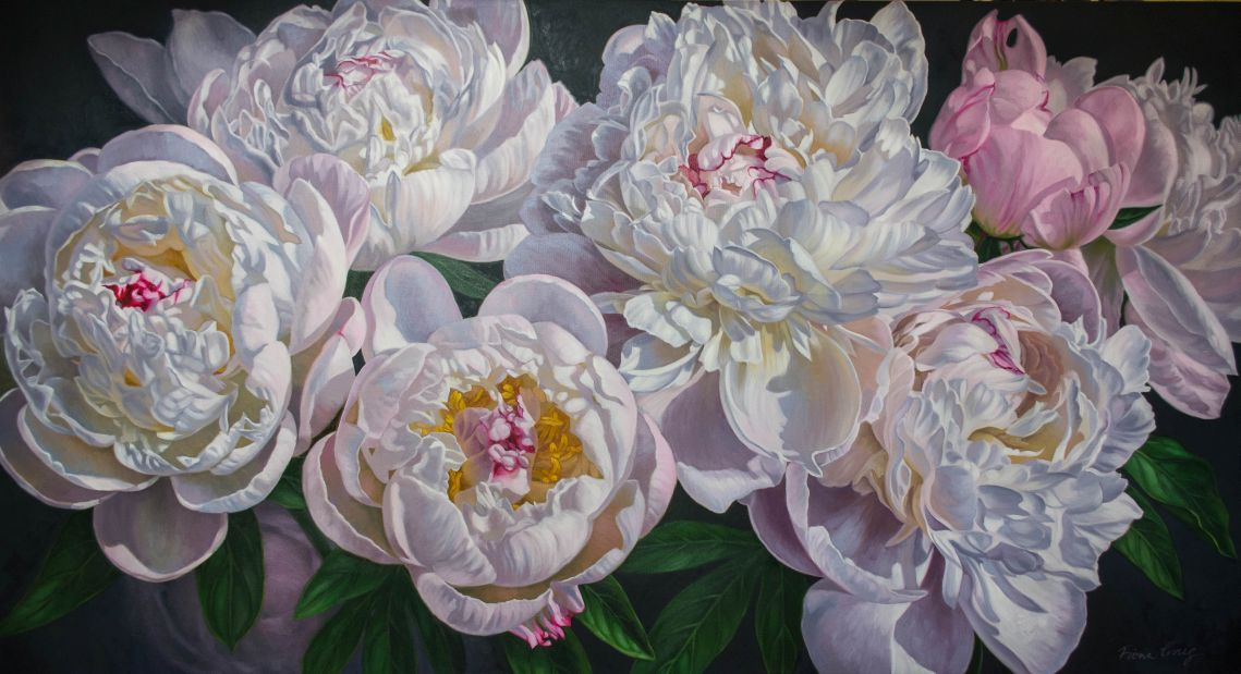 "Panorama of Peonies 2, oils on canvas, 62"" x 34""."