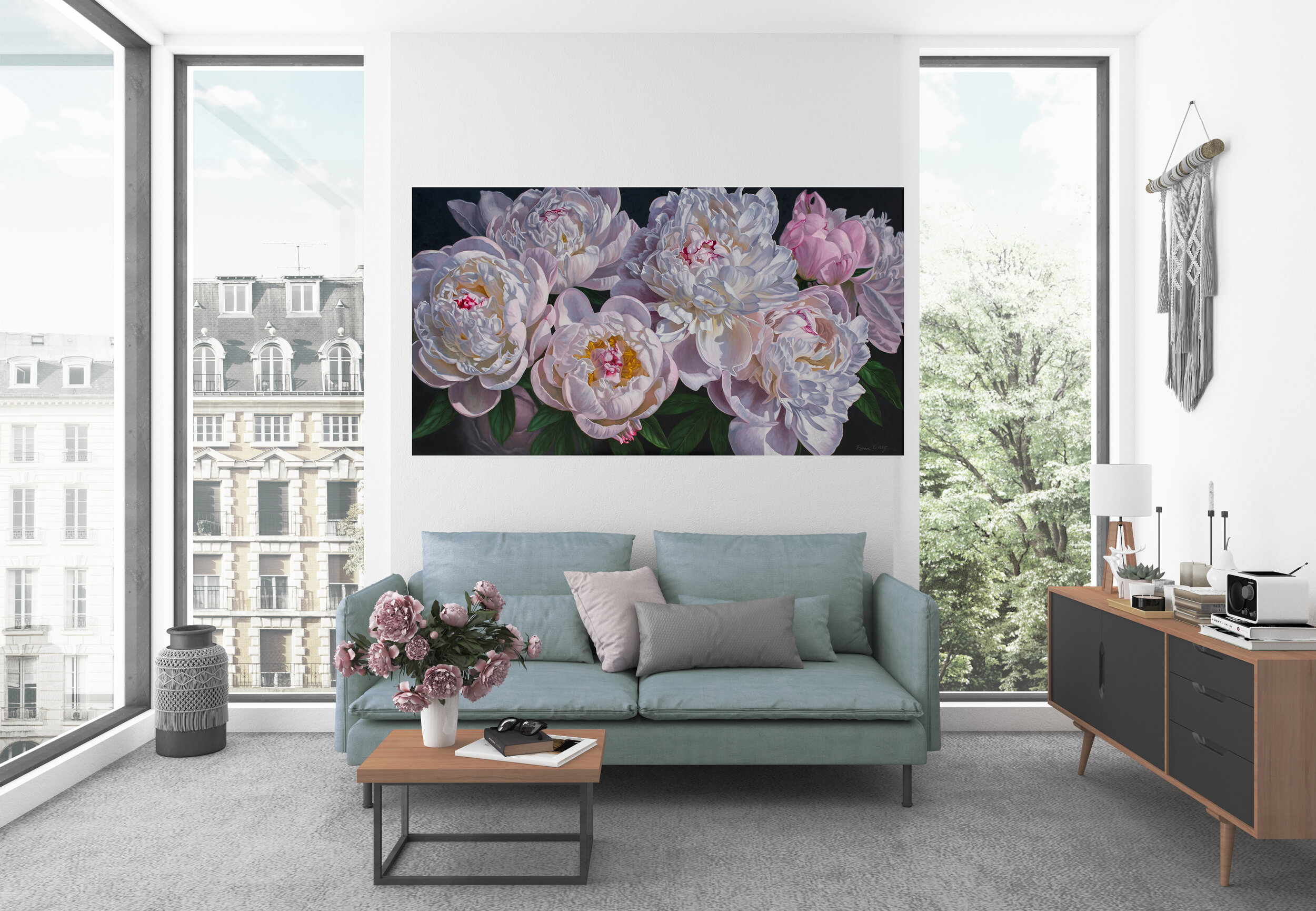 "Panorama of Peonies, 2 , oil on canvas, 62"" x 34"", in living room mockup."