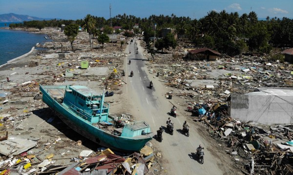 Destruction from the tsunami in Palu, Indonesia