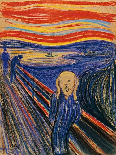This is  The Scream , a painting by Edward Munch