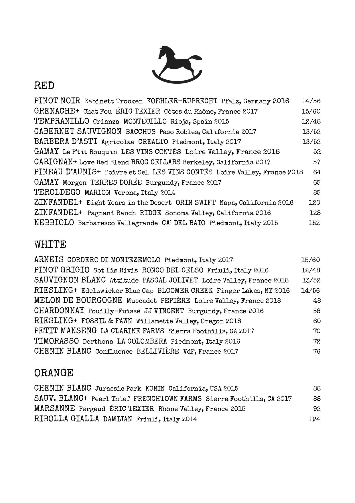 *Wine & sake menu subject to change based on seasonality and availability.