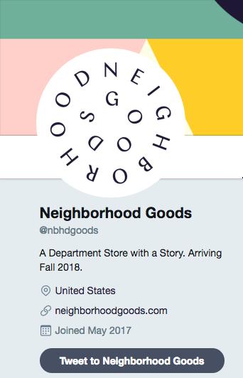 Twitter bio containing tagline, fall 2018