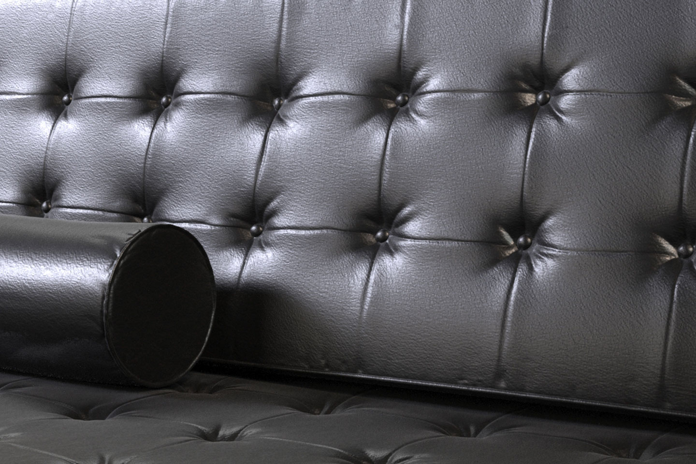 Texture Model, Black Leather Sofa