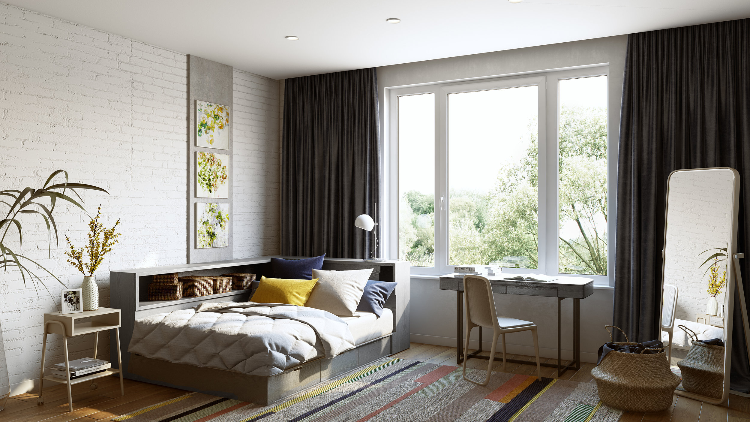 Complex Lifestyle Perspective, Lounge Style Bedroom