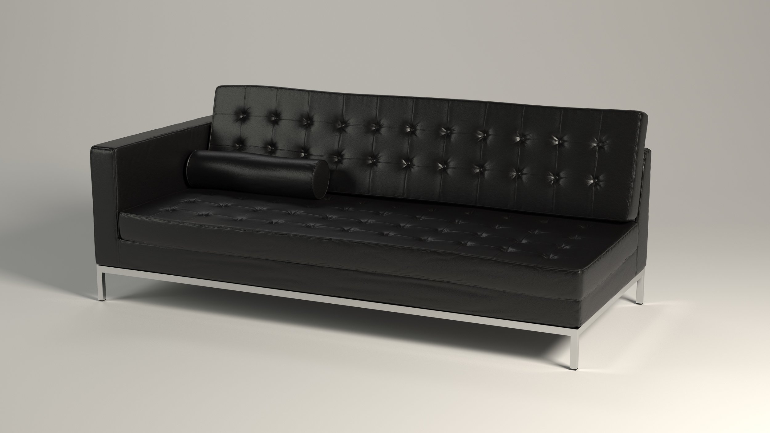 Furniture Model, Black Leather Sofa