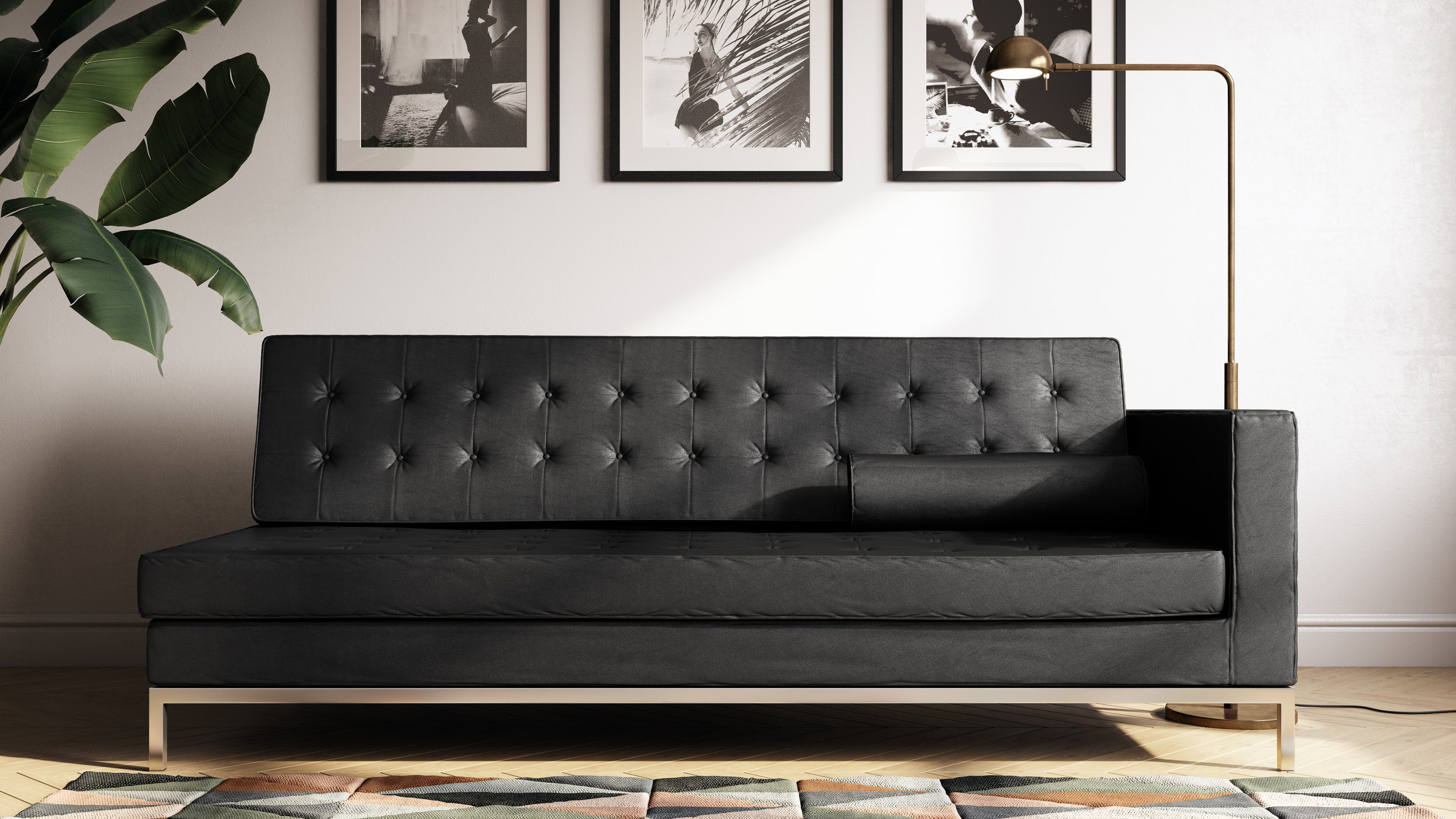Simple Lifestyle Perspective, Black Leather Sofa