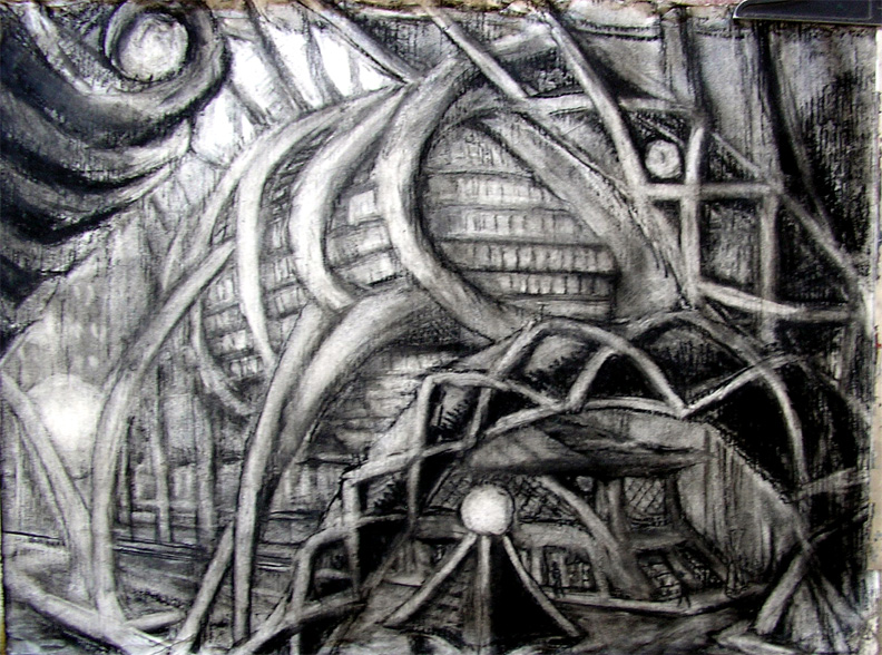 """The Fly Building / 20"""" x 30"""" charcoal, pastel on foiled paper"""
