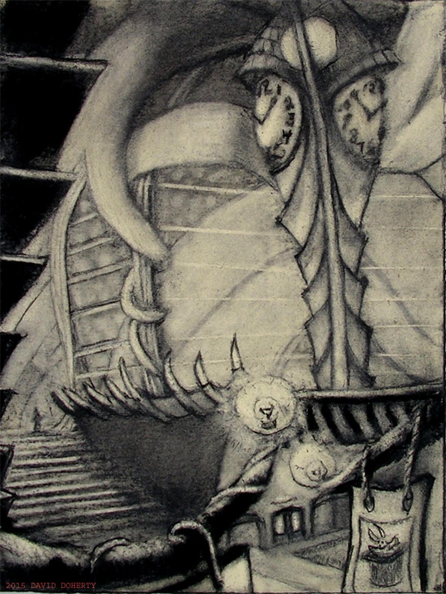 "Clocktower / 20"" x 15"" charcoal, pastel on board"