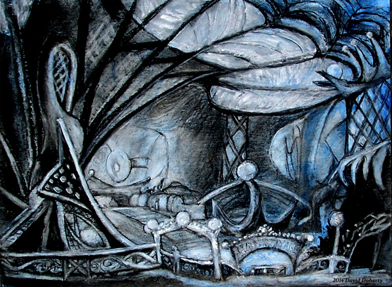 """The Palm Court  / 15"""" x 20"""" charcoal, pastel, acrylic on board"""
