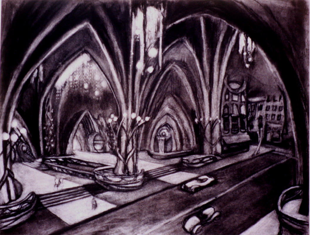 """Entrance to the Hotel / 20"""" x 30"""" charcoal on paper"""