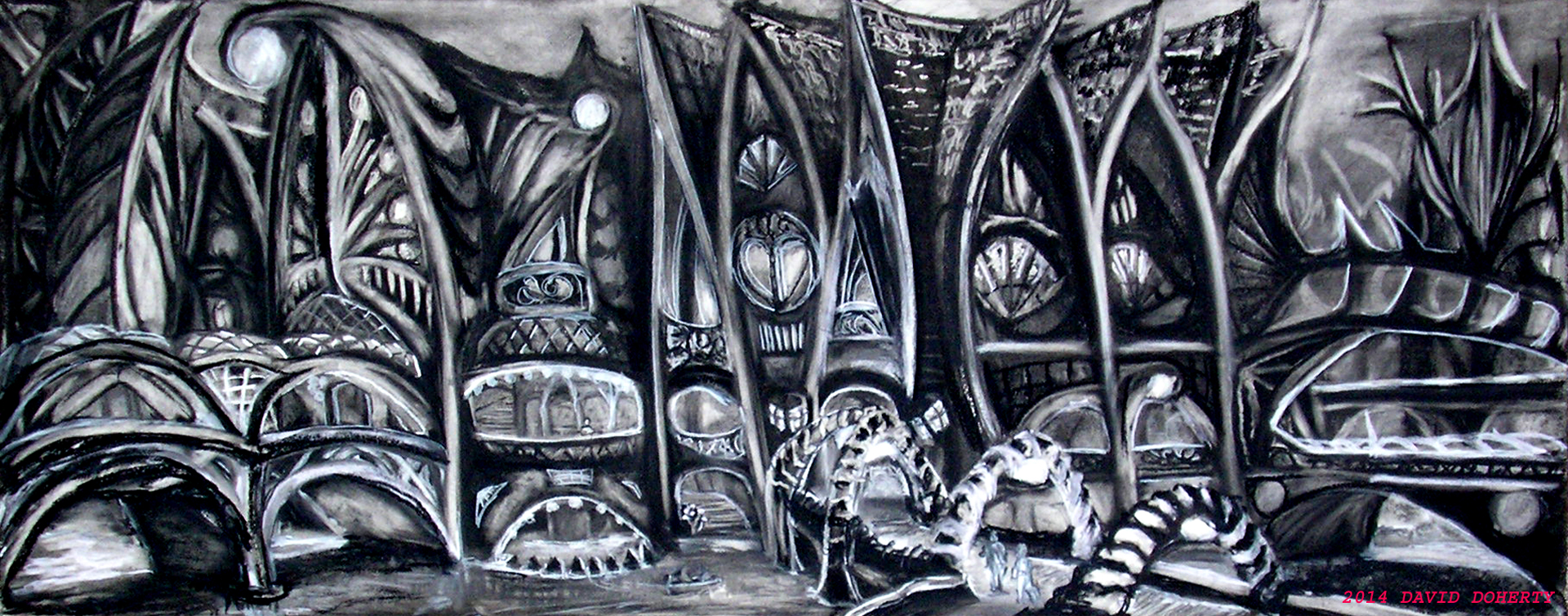 """The Canal Houses / 19"""" x 48""""  charcoal on paper"""