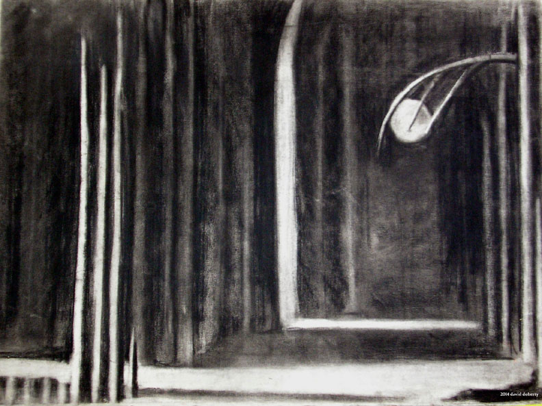 """The Ball in the Hall / 20"""" x 30"""" charcoal on paper"""