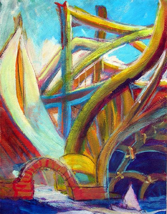 "Sailing by the Bridge / 17"" x 14"" acrylic on board"
