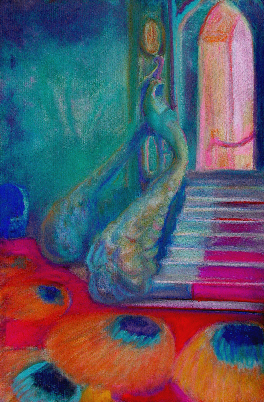 """Peacock Staircase / 15"""" x 11"""" pastel on paper"""