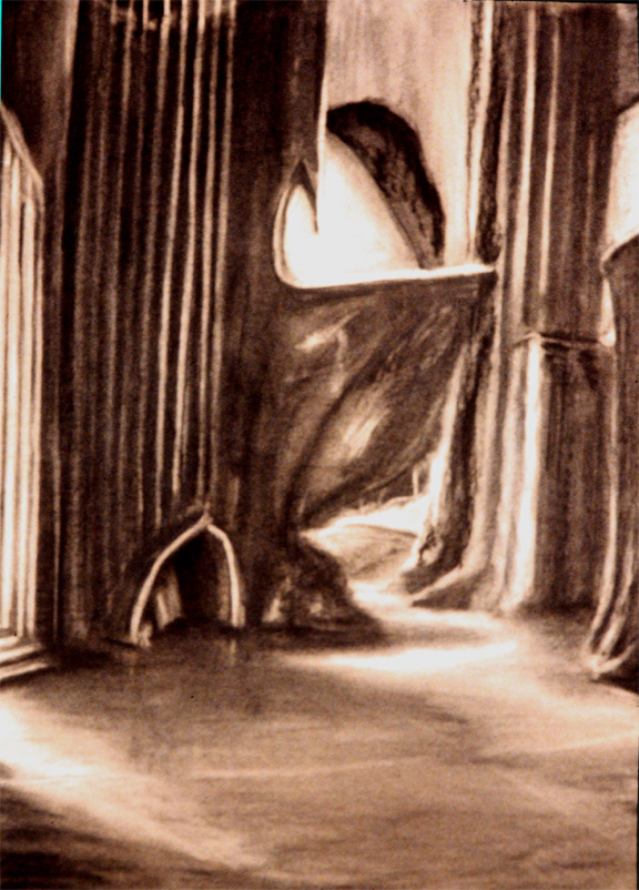"""Herrmann """"Prelude to Fahrenheit 451 : Entrance Hall"""" / 30"""" x 20"""" charcoal on paper"""