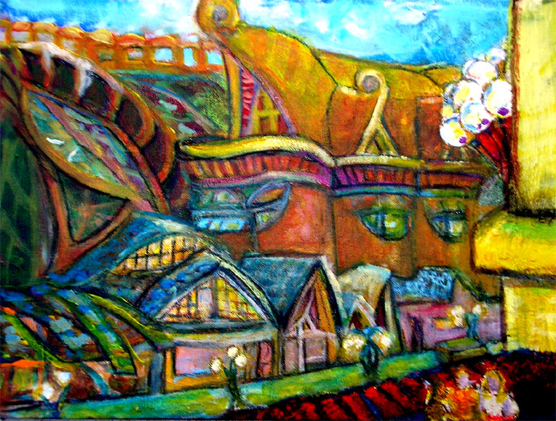 """The View from the Roof / 11"""" x 17"""" acrylic on board"""