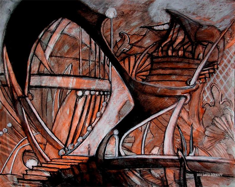 "Jaws Plaza / 15"" x 20"" charcoal, pastel, acrylic on board"