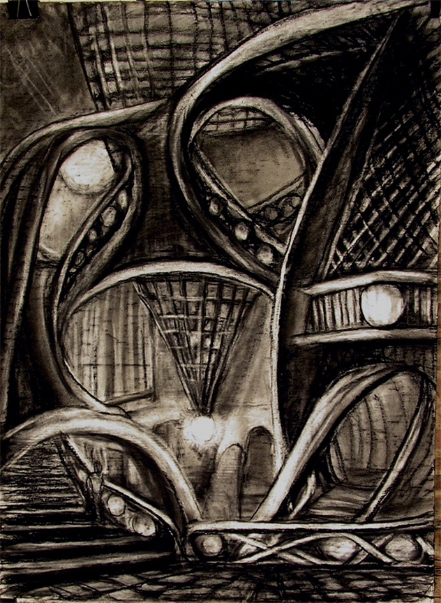"""Frogshead Hall  / 40"""" x 30"""" charcoal, pastel on paper"""