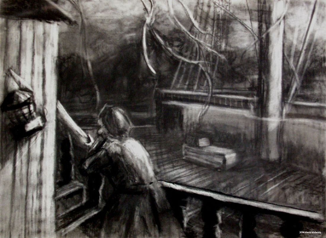 """Herrmann """"Prelude to Fahrenheit 451 : The Storm"""" / 20"""" x 30"""" charcoal on paper"""